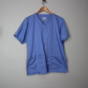 Wonder Work Light Blue Periwinkle Scrub Top sz M